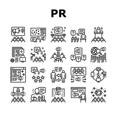 Pr Public Relations Collection Icons Set Vector. Pr Strategy And Events, Interview And Press Release, Meeting And Responses To Media Inquiries Black Contour Illustrations