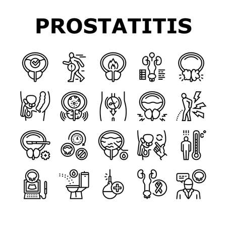 Prostatitis Disease Collection Icons Set Vector. Prostatitis Symptom, Examination And Treatment, Prostate Massage And Analysis Black Contour Illustrations