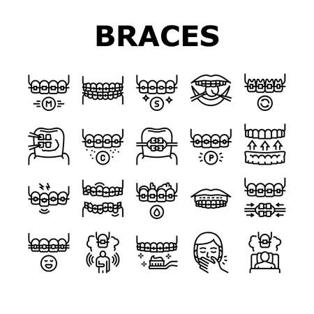 Tooth Braces Accessory Collection Icons Set Vector. Tooth Braces Installation And Correction, Metal And Sapphire, Ceramic And Plastic Material Black Contour Illustrations