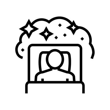 sleeping with dream patient line icon vector. sleeping with dream patient sign. isolated contour symbol black illustration