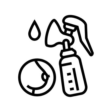pumpking milk with pump line icon vector. pumpking milk with pump sign. isolated contour symbol black illustration