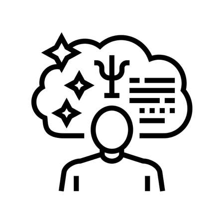 psychological expert line icon vector. psychological expert sign. isolated contour symbol black illustration