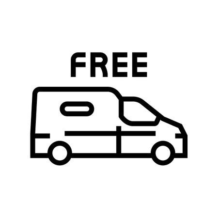 van transportation free shipping line icon vector. van transportation free shipping sign. isolated contour symbol black illustration