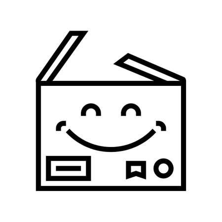 carbdoard happy free shipping line icon vector. carbdoard happy free shipping sign. isolated contour symbol black illustration