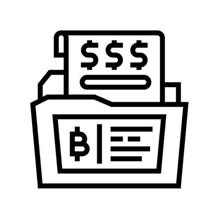 financial report digital coin line icon vector. financial report digital coin sign. isolated contour symbol black illustration Ilustrace