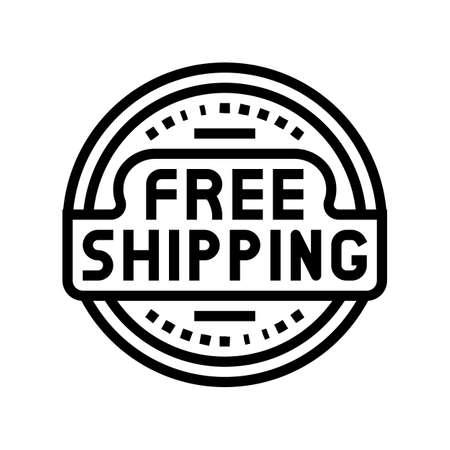 logo free shipping line icon vector. logo free shipping sign. isolated contour symbol black illustration