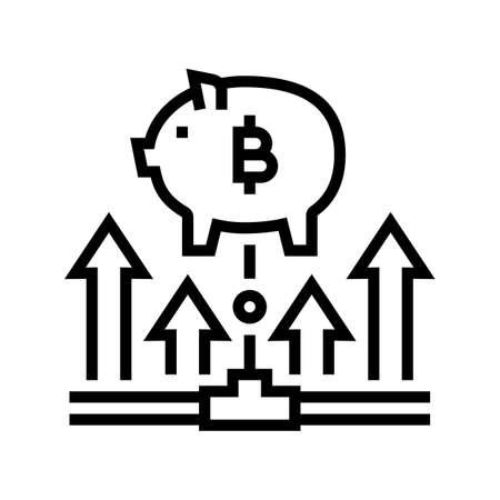 fundraising digital coin ico line icon vector. fundraising digital coin ico sign. isolated contour symbol black illustration