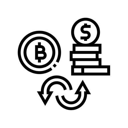 currancy money to bitcoin line icon vector. currancy money to bitcoin sign. isolated contour symbol black illustration