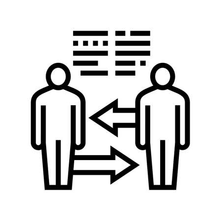 exchange skills pr line icon vector. exchange skills pr sign. isolated contour symbol black illustration