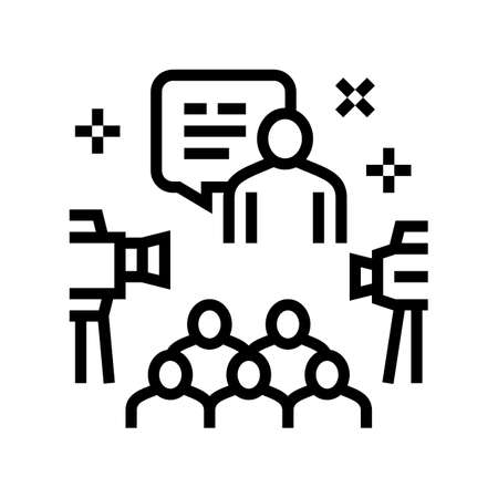 meeting and conference line icon vector. meeting and conference sign. isolated contour symbol black illustration