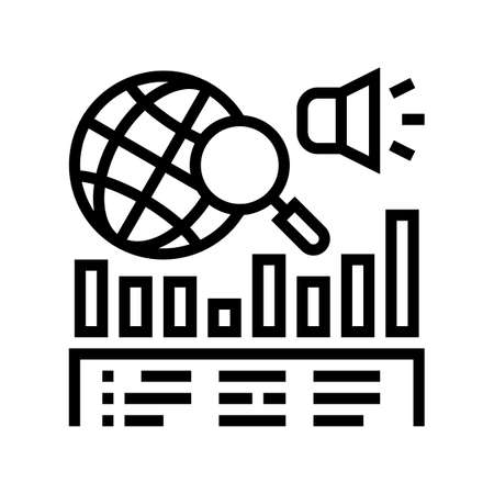 news coverage analysis line icon vector. news coverage analysis sign. isolated contour symbol black illustration