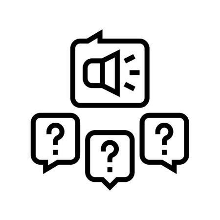 responses to media inquiries line icon vector. responses to media inquiries sign. isolated contour symbol black illustration