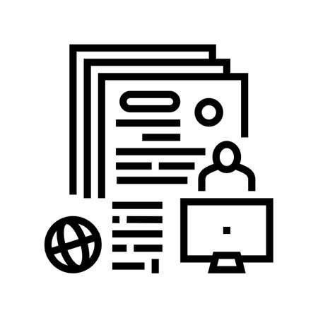 writing press release line icon vector. writing press release sign. isolated contour symbol black illustration
