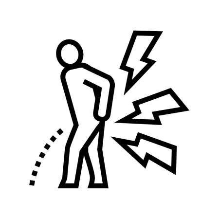 pain when urinating line icon vector. pain when urinating sign. isolated contour symbol black illustration