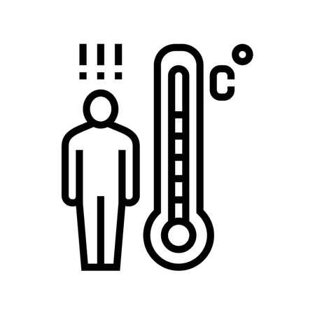 patient high temperature line icon vector. patient high temperature sign. isolated contour symbol black illustration
