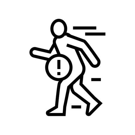 pain when fast walking line icon vector. pain when fast walking sign. isolated contour symbol black illustration