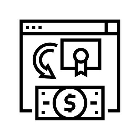 exchange share company to moey line icon vector. exchange share company to moey sign. isolated contour symbol black illustration Ilustrace