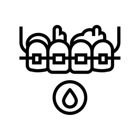 blood from tooth braces line icon vector. blood from tooth braces sign. isolated contour symbol black illustration Ilustrace