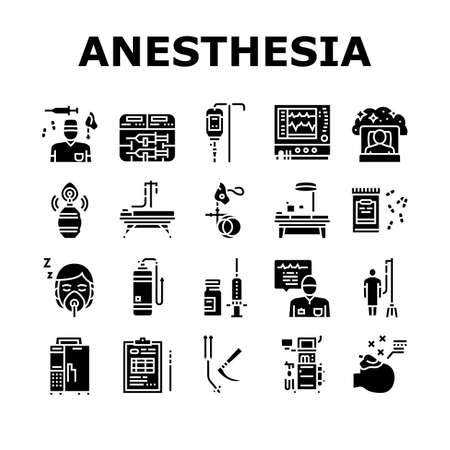 Anesthesiologist Tool Collection Icons Set Vector. Syringe Pump, Anesthesia Machine And Heart Rate Monitor Anesthesiologist Equipment Glyph Pictograms Black Illustrations