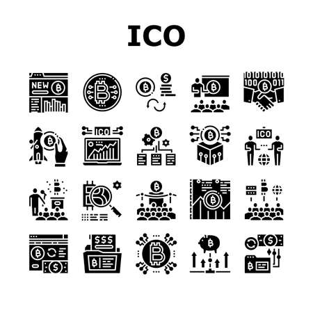 Ico Initial Coin Offer Collection Icons Set Vector. Ico Platform And Successful Start, Presentation And Investing, Development And Cryptocurrency Glyph Pictograms Black Illustrations Ilustrace