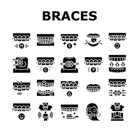 Tooth Braces Accessory Collection Icons Set Vector. Tooth Braces Installation And Correction, Metal And Sapphire, Ceramic And Plastic Material Glyph Pictograms Black Illustrations Ilustrace