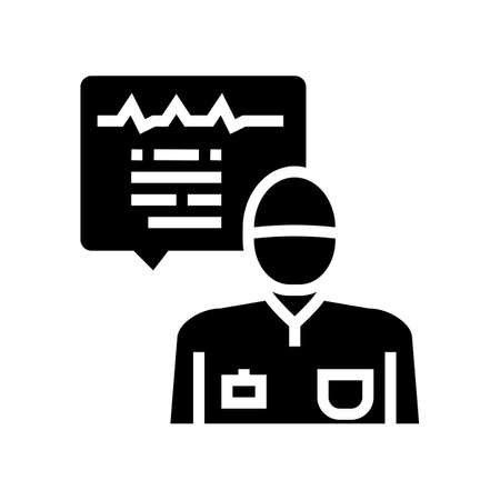 anesthesiologist monitoring heart rate glyph icon vector. anesthesiologist monitoring heart rate sign. isolated contour symbol black illustration Ilustrace