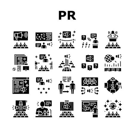 Pr Public Relations Collection Icons Set Vector. Pr Strategy And Events, Interview And Press Release, Meeting And Responses To Media Inquiries Glyph Pictograms Black Illustrations