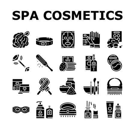 Spa Cosmetics Beauty Collection Icons Set Vector. Spa Cosmetics And Accessories, Mask And Aqua Bomb, Special Gloves And Brush Glyph Pictograms Black Illustrations Vektorgrafik