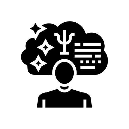 psychological expert glyph icon vector. psychological expert sign. isolated contour symbol black illustration Ilustrace