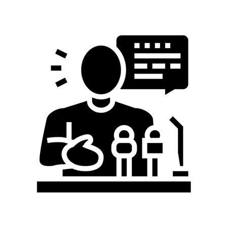 relaiter pr glyph icon vector. relaiter pr sign. isolated contour symbol black illustration Vettoriali
