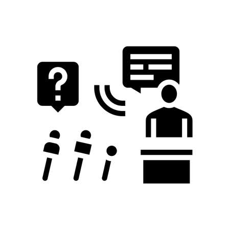interview pr glyph icon vector. interview pr sign. isolated contour symbol black illustration Ilustrace
