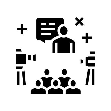 meeting and conference glyph icon vector. meeting and conference sign. isolated contour symbol black illustration