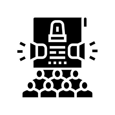 crisis management glyph icon vector. crisis management sign. isolated contour symbol black illustration Ilustrace