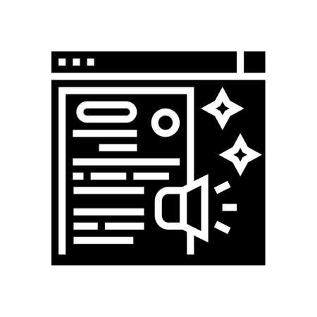 distributing press release glyph icon vector. distributing press release sign. isolated contour symbol black illustration Vettoriali