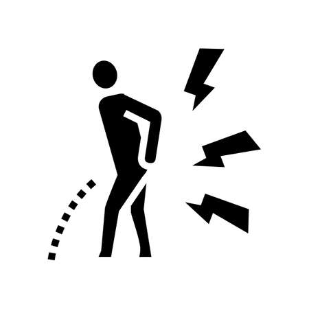 pain when urinating glyph icon vector. pain when urinating sign. isolated contour symbol black illustration