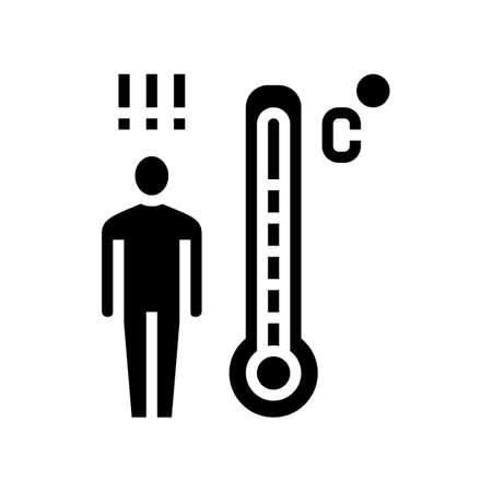 patient high temperature glyph icon vector. patient high temperature sign. isolated contour symbol black illustration Ilustrace