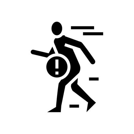 pain when fast walking glyph icon vector. pain when fast walking sign. isolated contour symbol black illustration Ilustrace