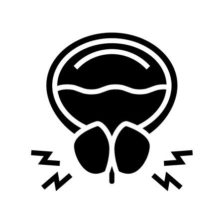 prostate blocking urine canal glyph icon vector. prostate blocking urine canal sign. isolated contour symbol black illustration