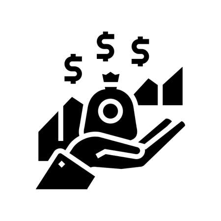 growth dividends precent glyph icon vector. growth dividends precent sign. isolated contour symbol black illustration
