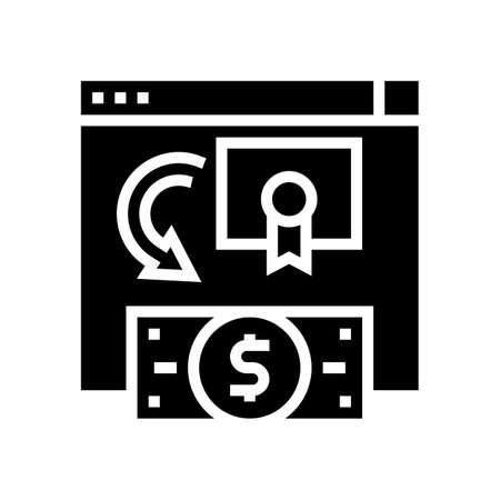 exchange share company to moey glyph icon vector. exchange share company to moey sign. isolated contour symbol black illustration Ilustrace