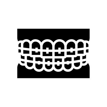 tooth braces glyph icon vector. tooth braces sign. isolated contour symbol black illustration
