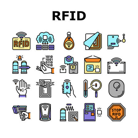Rfid Chip Technology Collection Icons Set Vector. Security Card And Trinket, Development And Programming Rfid Radio Frequency Identification Concept Linear Pictograms. Contour Color Illustrations