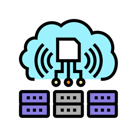 servers storaging info from rfid color icon vector. servers storaging info from rfid sign. isolated symbol illustration