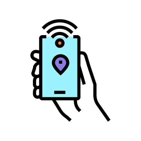 smartphone with rfid nfc technology color icon vector. smartphone with rfid nfc technology sign. isolated symbol illustration Ilustrace