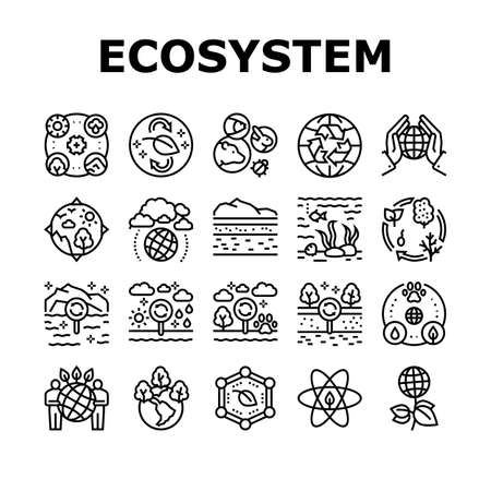 Ecosystem Environment Collection Icons Set Vector. Ecosystem And Ecology, Biodiversity And Life Cycle, Biosphere And Atmosphere Black Contour Illustrations