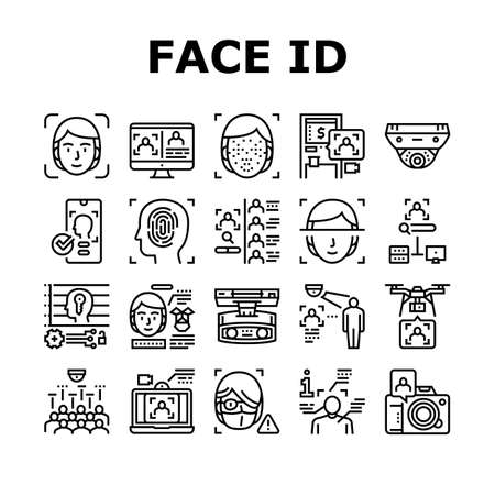 Face Id Technology Collection Icons Set Vector. Face Id And Finger Print Access, Atm Bank Terminal And Unblocked Smartphone Facial Protect System Black Contour Illustrations