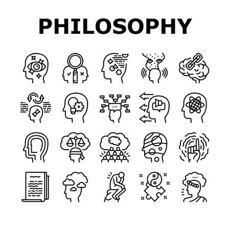 Philosophy Science Collection Icons Set Vector. Social Philosophy And Logic, Aesthetics And Ethics, Metaphilosophy And Epistemology Black Contour Illustrations Ilustrace