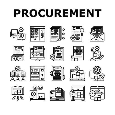 Procurement Process Collection Icons Set Vector. Procurement Warehouse And Contract, Purchase Requisition And Budget Approval Black Contour Illustrations Ilustrace
