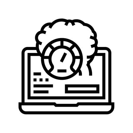 laptop optimize line icon vector. laptop optimize sign. isolated contour symbol black illustration