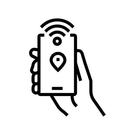 smartphone with rfid nfc technology line icon vector. smartphone with rfid nfc technology sign. isolated contour symbol black illustration Ilustrace
